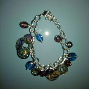 Lia sophia abalone shell and silver bracelet gift